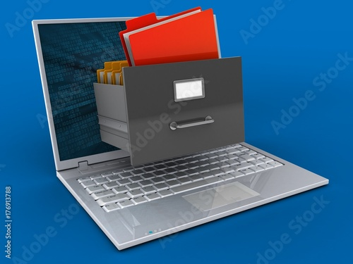 3d laptop and archive