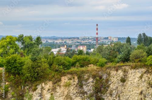Chrzanow City in Poland. View from the quarry of Balaton in Trzebinia on Chrzanow.