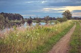 Beautiful summer landscape. Rural road at a beautiful pond. - 176916324