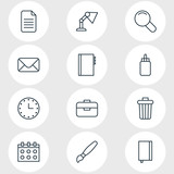 Vector Illustration Of 12 Instruments Icons. Editable Pack Of Textbook, Garbage Container, Portfolio And Other Elements. - 176916351