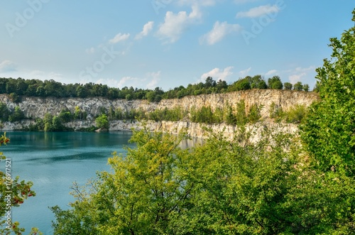 Beautiful quarry with blue water. Water reservoir