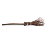 Witch's magic broom isolated on white background - 176920572