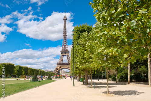 The Eiffel Tower and the Champ de Mars on a summer day in Paris