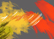 Abstract Digital Painting in Yellow Red Orange and Gray - 176925755