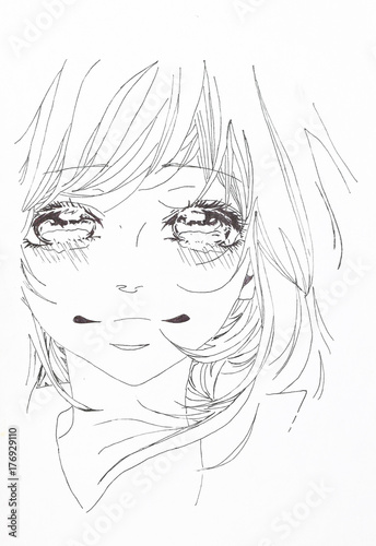 Drawing in the style of anime. Picture of a girl in the picture - 176929110