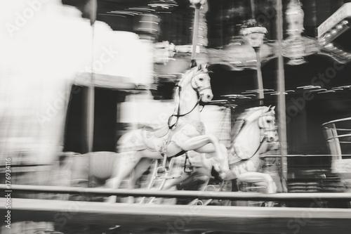 Old vintage carousel in Tibidabo park in Barcelona Poster