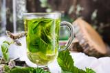 Mint tea in a glass - 176935747