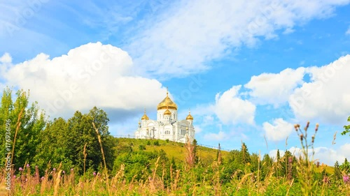 Fridge magnet Belogorsky St. Nicholas Orthodox-Missionary Monastery. Russia, Perm Territory, White Mountain. Time Lapse