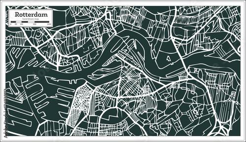 Fototapeta Rotterdam Map in Retro Style. Hand Drawn.