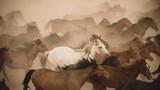 Horses run gallop in dust - 176941305