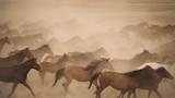 Horses run gallop in dust - 176941329