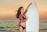 Woman Bikini Surfer and Surfboard, Sunset, Beach - 176943585