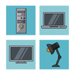 Office elements icons icon vector illustration graphic design