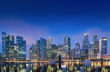 Business center and downtown of Singapore., Twilight scene, Blue hour.