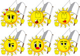 Cartoon sun holds white flag of surrender. Collection with various facial expressions. Vector set. - 176946987