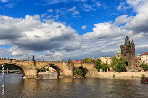 Prague. View of the Charles bridge with the Vltava river. Poster