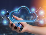 Blue cloud displayed on a futuristic interface - 3d rendering - 176948567