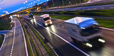 Trucks on four lane controlled-access highway in Poland - 176949358