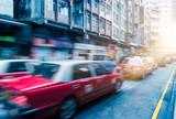 taxi on city street,hong kong,china,asia. - 176950527