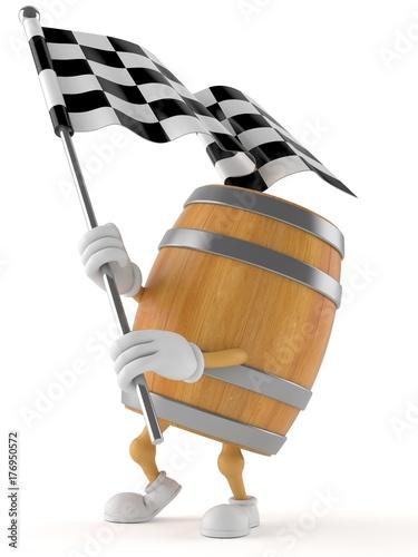 Barrel character with racing flag