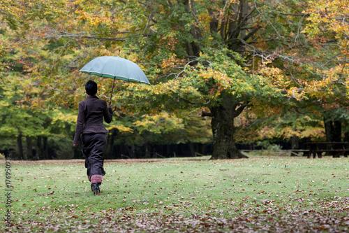 Juliste Woman keeping umbrella under the rain in the woodland
