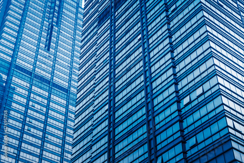 modern office buildings exterior,detail shot,blue toned,shanghai,china. - 176951158