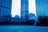 empty square and city skyline under blue sky,tianjin city,china.