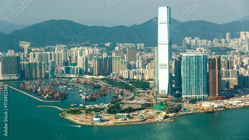 Beautiful view of West Kowloon from Victoria Peak- time lapse