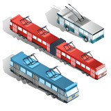 Set of various passenger city transport isometric projection vector illustrations isolated on white background. Trams and trolleybuses collection. Modern public urban transport