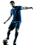 one caucasian soccer player man playing kicking in silhouette isolated on white background - 176960314