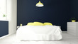 modern bedroom blue and yellow - 176967542