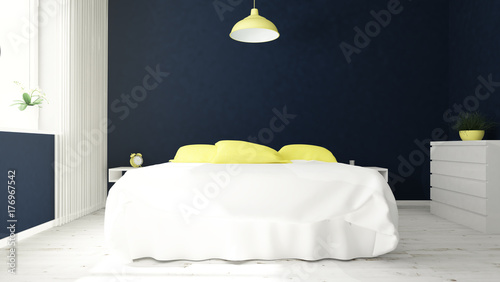 modern bedroom blue and yellow