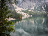 View to beautiful calm lake in forest in mountains.  - 176968559