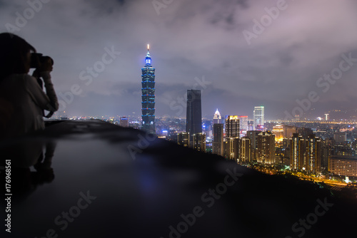 The beautiful night scene of Taipei, Taiwan city with clear skyline Poster