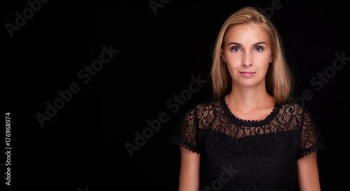 pretty woman over black background