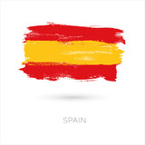 Spain colorful brush strokes painted national country flag icon. Painted texture. - 176970556