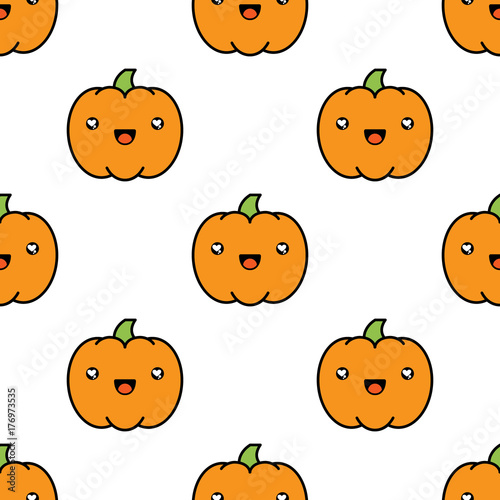 Seamless halloween pattern with pumpkins on white background. - 176973535