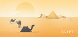 Gorgeous Egypt desert landscape with silhouettes of camels standing and lying against Giza pyramid complex, statue of Great Sphinx and large scorching sun on background. Colorful vector illustration.