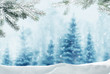 Merry christmas and happy new year greeting background with copy-space.Winter landscape with snow and christmas trees