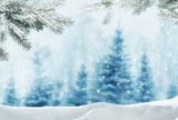 Merry christmas and happy new year greeting background with copy-space.Winter landscape with snow and christmas trees - 176976582