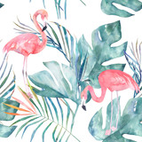 Tropical seamless pattern with flamingo and leaves. Watercolor summer print. Exotic hand drawn illustration