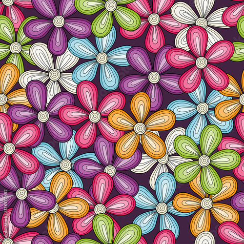 Seamless colorful flowers pattern. Vector bright floral background. - 176977592