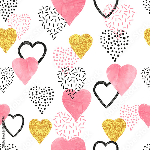 Glittering gold and watercolor pink hearts pattern. Valentines Day seamless background. - 176977794