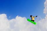 Snowboarder making jump - 176982371