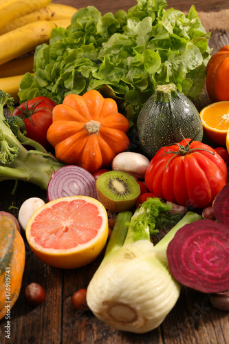 Poster assorted raw fruit and vegetable