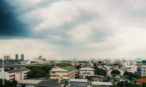 Papiers peints Bangkok Cloudy sky over city at rainy season : Bangkok , Thailand