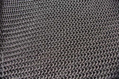 Metal chainmail ring pattern background Poster