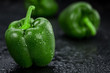 Fresh made Green paprika on a slate slab (close-up shot; selective focus)