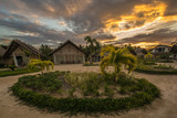 Small guest houses over a beautiful sunset. Philippines. The island of Palawan. - 177000713
