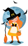Vector cartoon illustration of a little girl in a Halloween party costume